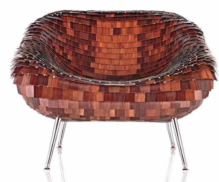 Armadillo chair made form shingled laminate.